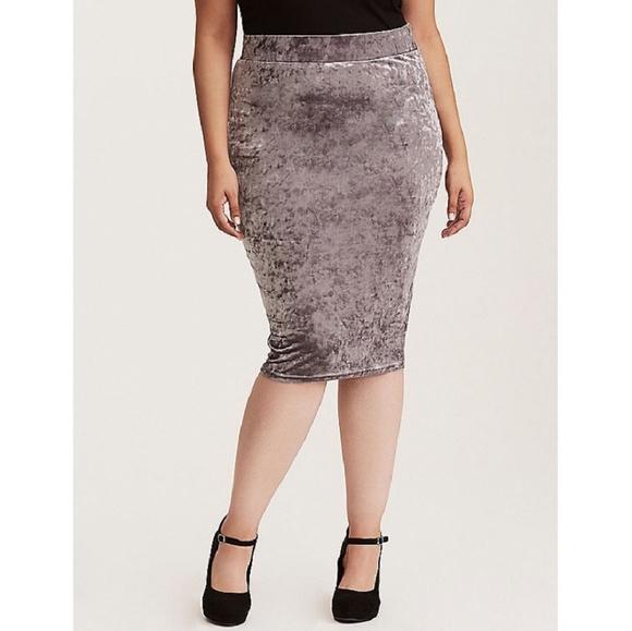 62265491fe torrid Skirts | Gray Silver Crushed Velvet Pencil Skirt | Poshmark